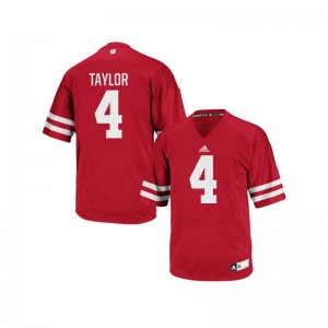 Mens A.J. Taylor Jerseys Red Authentic Wisconsin Badgers Jerseys