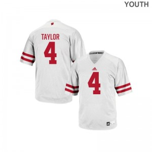 Wisconsin A.J. Taylor Authentic Youth(Kids) Jersey S-XL - White