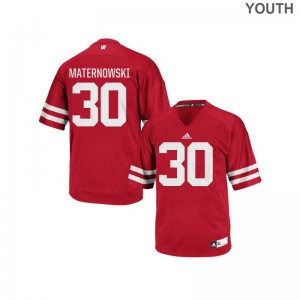 Wisconsin Badgers Authentic Red Kids Aaron Maternowski Jersey Youth Large