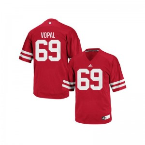 Red Authentic Aaron Vopal Jersey Men XL For Men Wisconsin