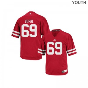 Wisconsin Badgers Red For Kids Authentic Aaron Vopal Jerseys S-XL