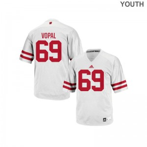 Aaron Vopal Wisconsin Badgers Jersey Youth Medium For Kids Authentic - White
