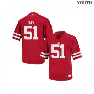 University of Wisconsin Kids Red Authentic Adam Bay Jersey Large