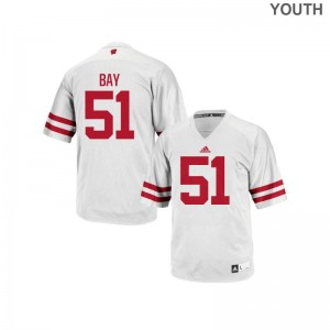 Adam Bay Youth Jerseys S-XL Authentic White Wisconsin Badgers
