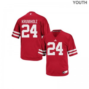 Wisconsin Badgers Adam Krumholz Jerseys Youth XL For Kids Red Authentic