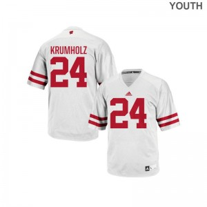 Adam Krumholz Youth Wisconsin Badgers Jerseys White Authentic Jerseys