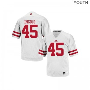 Wisconsin Badgers Authentic Alec Ingold For Kids White Jerseys X Large