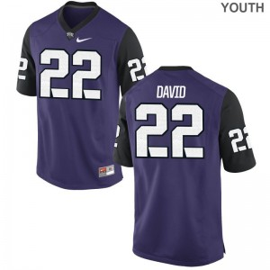 Youth(Kids) Andrew David Jerseys Youth Medium Texas Christian University Limited Purple Black