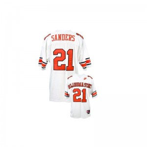 For Men Barry Sanders Jerseys XXL Oklahoma State Limited White