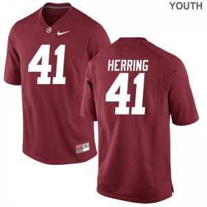 University of Alabama Chris Herring Jerseys Youth Large Limited For Kids Red
