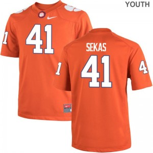 Connor Sekas Clemson National Championship Jerseys XL Orange Limited Youth(Kids)