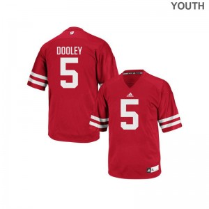 Red Authentic Garret Dooley Jerseys Youth Large For Kids Wisconsin Badgers