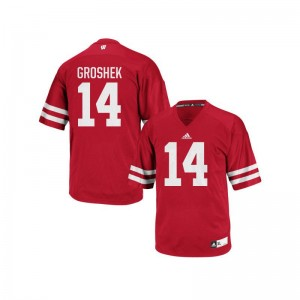 Wisconsin Badgers Jersey Youth X Large of Garrett Groshek Authentic Kids - Red