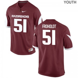 Hjalte Froholdt Kids Jerseys Medium Limited Cardinal Razorbacks