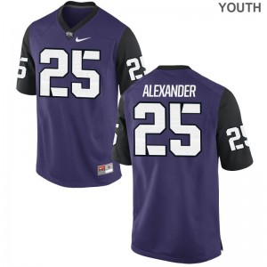 TCU Horned Frogs Isaiah Alexander Jerseys Youth XL Purple Black Youth(Kids) Limited