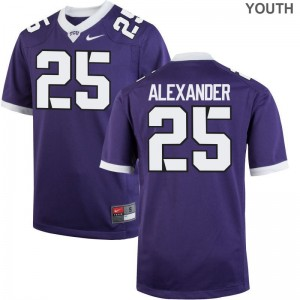 Limited Youth Texas Christian University Jersey Youth Medium of Isaiah Alexander - Purple