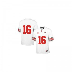 J.T. Barrett Youth(Kids) Ohio State Buckeyes Jersey White Diamond Quest Patch Limited Jersey