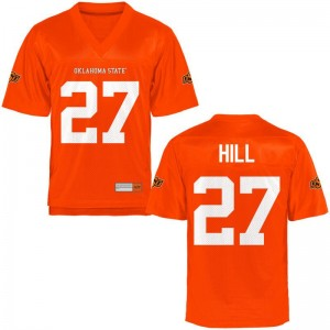 Justice Hill Mens Oklahoma State Cowboys Jerseys Orange Limited Jerseys