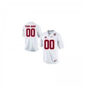 Bama Custom Jerseys Mens Small Limited White 2013 BCS Patch Mens