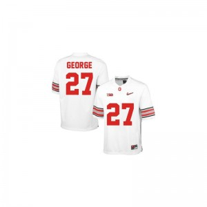 Eddie George Mens OSU Buckeyes Jerseys #27 White Diamond Quest Patch Limited High School Jerseys