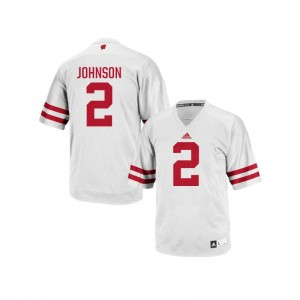 Wisconsin Patrick Johnson For Men Authentic College Jersey White
