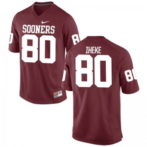Mens Limited Sooners Jersey of Sam Iheke - Crimson